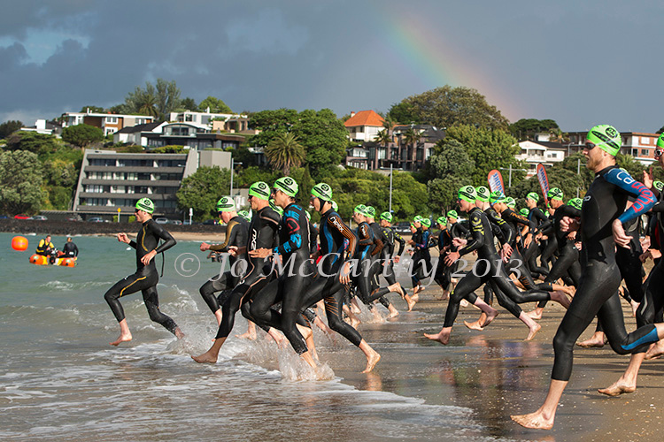 Start of the men's division in  Race 2 - 2013/2014 Stroke and Stride swimrun series. Mission Bay, Auckland, New Zealand. Thursday 28 November 2013. Photo: Jo McCarthy
