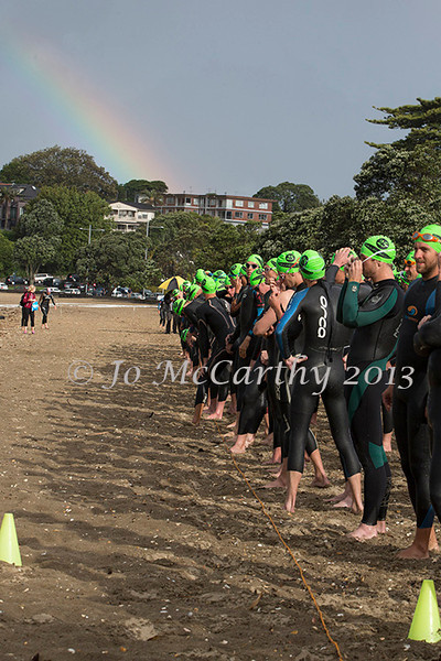Competitors await the start of the men's division in  Race 2 - 2013/2014 Stroke and Stride swimrun series. Mission Bay, Auckland, New Zealand. Thursday 28 November 2013. Photo: Jo McCarthy