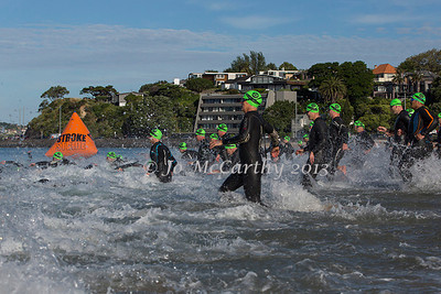 Start of men's division, Race 3 of the 2013/2014 Stroke and Stride swimrun series. Mission Bay, Auckland, New Zealand, Thursday 12 December 2013.  Photo: Jo McCarthy