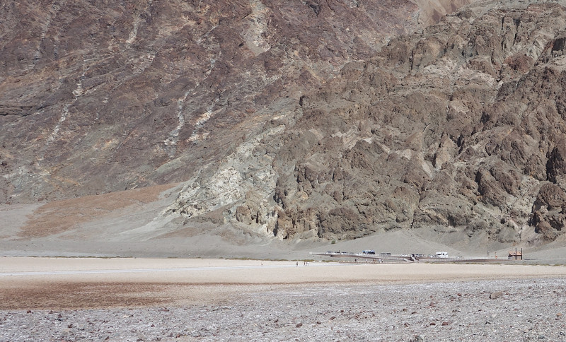 This is looking across the basin at the Badwater parking area.  Looks tiny in comparison to it's vast surroundings.
