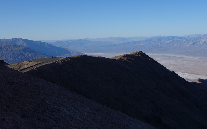 Can you see my truck parked on the overlook?  This is a place called Dante's View, and it sits at 5,475 feet elevation.  It overlooks the Badwater Basin at 282 feet below sea level and is the lowest point in North America.
