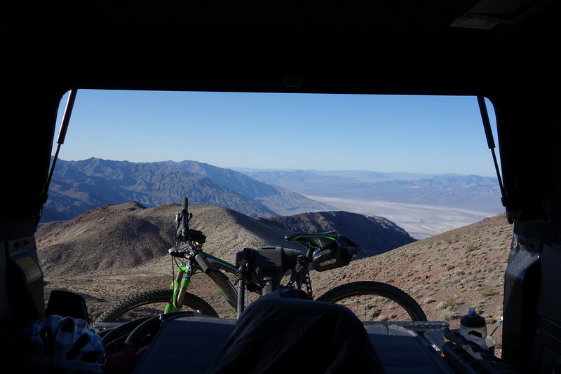 "Here's a view from my ""bed"" the following morning.  It's over 2 vertical miles above the Badwater Basin, which can be seen in the right side of the photo.  Waking up to the sunrise was great, but not compared to looking from my sleeping bag the night before and seeing the Basin beneath the moonlight!"