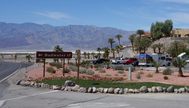 The Furnace Creek Inn is on the right.  It's truly an oasis in the desert!