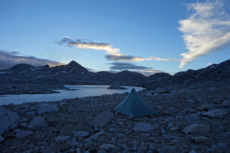 Camping at Wanda Lake.  The views evolved continuously as the clouds/lighting changed, so I've included several photos of this site.  Awesome place.