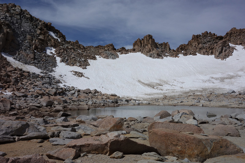The permanent snowfield just below Lamarck Col.