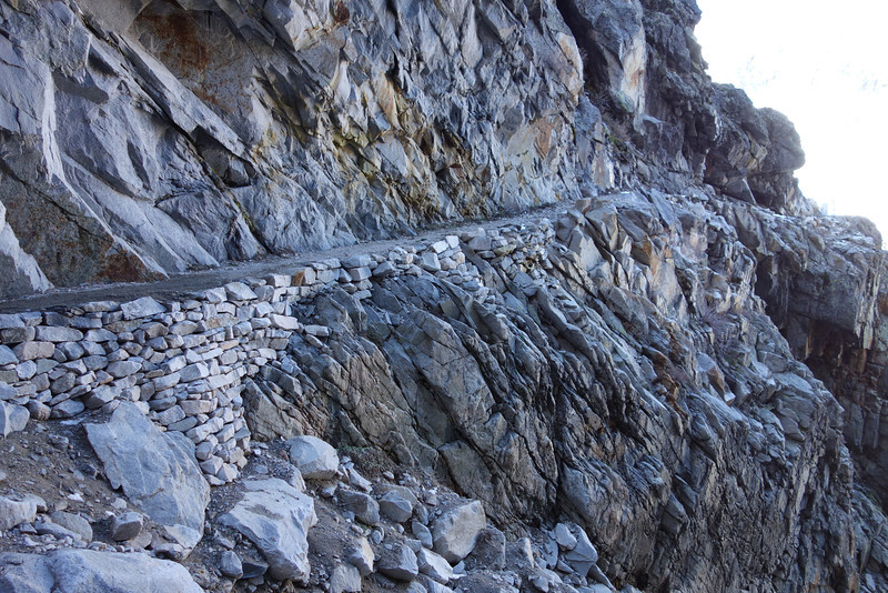 As you come out of the short tunnel, this shows the High Sierra Trail continuing towards Mt Whitney. What an amazing trail crew it took to create this masterpiece of a footpath!!