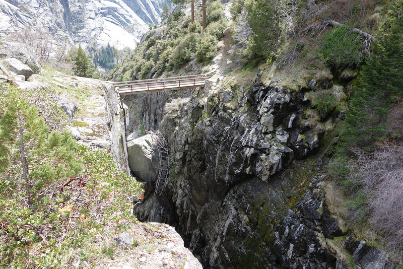 Another view showing the power of an avalanche.  Can you see the mangled old bridge hanging on the boulder below the new bridge?