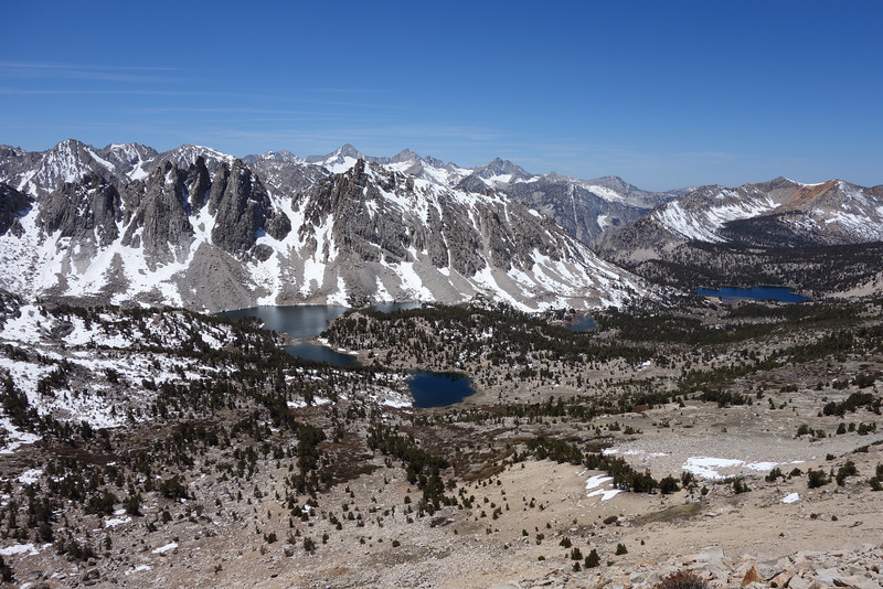 Kearsarge Lakes and Bullfrog Lake in the distance.