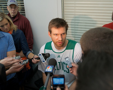 041613, Waltham, MA - Boston Celtics forward Shavlik Randolph comments  on the cancellation of Tuesday night's game and the Boston Marathon bombing. Herald photo by Ryan Hutton