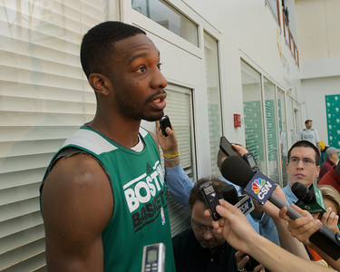 041613, Waltham, MA - Boston Celtics forward Jeff Green comments  on the cancellation of Tuesday night's game and the Boston Marathon bombing. Herald photo by Ryan Hutton