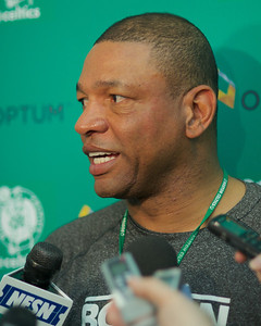 "041613, Waltham, MA - Boston Celtics coach Glenn Anton ""Doc"" Rivers comments  on the cancellation of Tuesday night's game and the Boston Marathon bombing. Herald photo by Ryan Hutton"