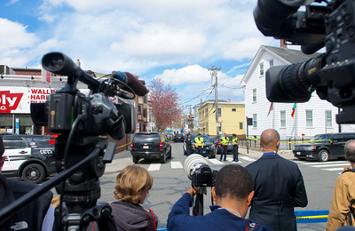 041913, Cambridge, MA - After police reopened Cambridge Street to traffic and pedestrians, media crowded around the end of Norfolk Street to get a glimpse of what was going on in front of the suspects' home on Norfolk Street. Photo by Ryan Hutton