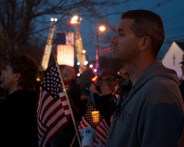 042013, Wilmington, MA - A candle light vigil was held on the Wilmington town common for fallen MIT police officer Sean Collier. Photo by Ryan Hutton