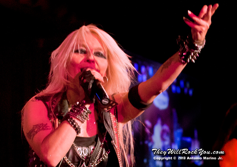 "Doro Pesch performs on February 4, 2013 during her tour in support of ""Raise Your Fist"" at BB Kings in New York, NY"