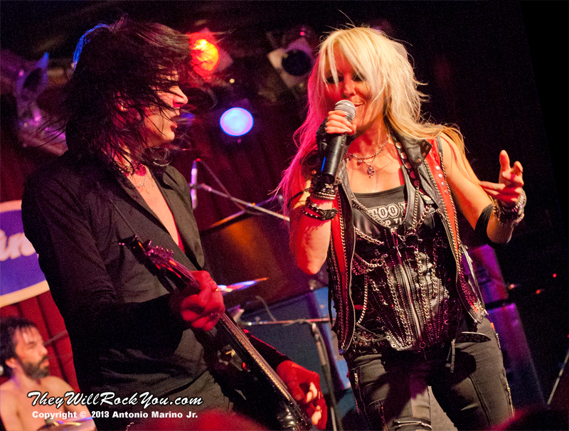 """Doro Pesch and Nick Douglas perform on February 4, 2013 during her tour in support of """"Raise Your Fist"""" at BB Kings in New York, NY"""