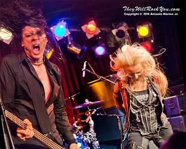 "Doro Pesch and Nick Douglas perform on February 4, 2013 during her tour in support of ""Raise Your Fist"" at BB Kings in New York, NY"