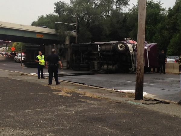 9-16-2013(Camden County) PENNSAUKEN Rt. 130 -Overturned Tractor Trailer