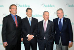 Robert F. Kennedy Jr., left, honoree Louis Bacon, second left, New York City Mayor Michael Bloomberg, second right, and Dan W. Lufkin attend The National Audubon Society's first gala to jointly award the Audubon Medal and the inaugural Dan W. Lufkin Prize for Environmental Leadership, Thursday, Jan. 17, 2013, in New York.  (Photo by Diane Bondareff/Invision for The National Audubon Society)