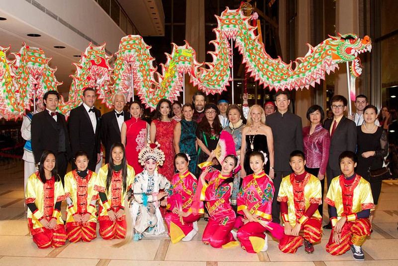 New York Philharmonic leadership and philanthropists behind the Chinese New Year Gala, with their families and the Nai-Ni Chen Dance Company__photo Julie Skarratt