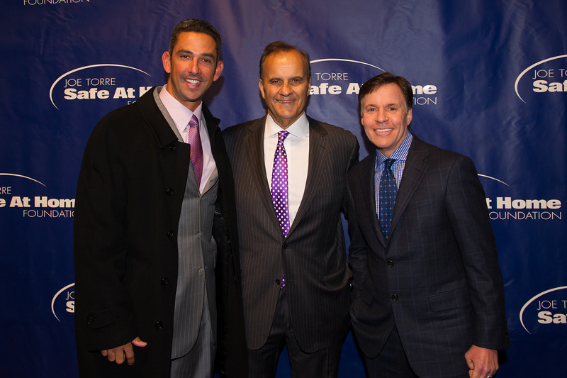 Jorge Posada, former catcher for the New York Yankees, Joe Torre, former New York Yankees Manager and MLB executive vice president of baseball operations, and Bob Costas, sportscaster, NBC sports, on the red carpet before the 10th anniversary Joe Torre Safe At Home Foundation gala. Photo Credit: Josh Sailor Photography