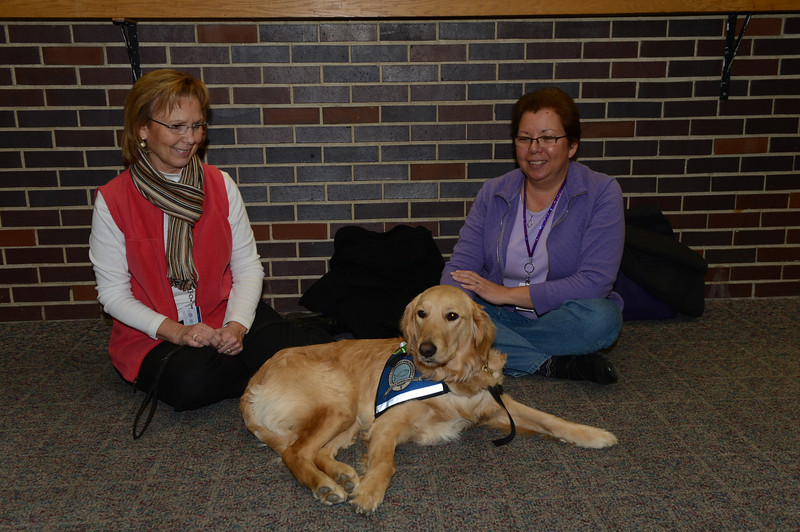 Kye Comfort Dog Kye with handlers Vicky Buhl and Sue Piske from Immanuel Belvidere, Illinois at Newtown High School