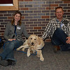 Comfort Dog Moses with handlers Jaci and Nathan Knuth from Christ Lutheran in Cairo, Nebraska at Newtown High School
