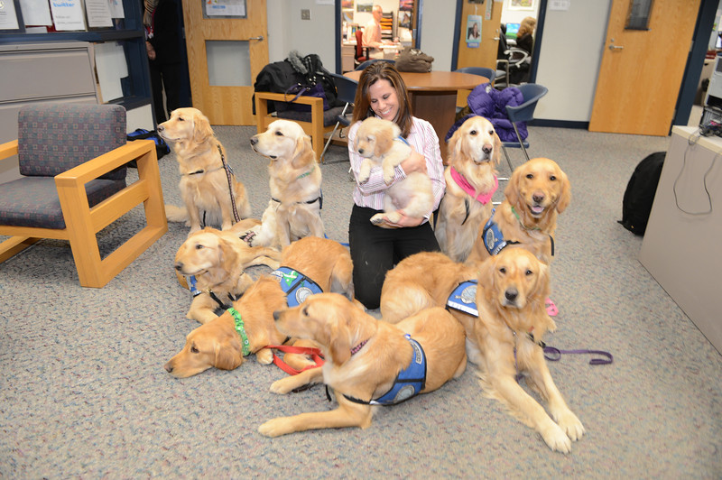 """Newtown High School counselor Deidre Croce in a """"cuddle puddle"""""""