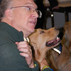 Pastor Paul Klopke and Comfort Dog JoJo from Living Christ Lutheran in Arlington Heights, Illinois