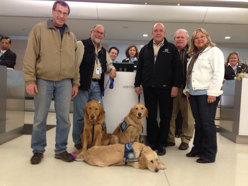 Handlers Frank (Isaiah), Tim (Luther), Rich (Ruthie), Fred and Dona with all the amazing United Airlines crew.