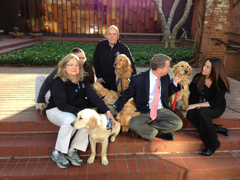 The K-9 Comfort Dog crew on set of the NBC Today Show with Correspondent Kerry Sanders.