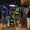 """The """"Wednesday Night Running Club"""" in Boston stopped by First Lutheran Church of Boston to see the LCC K-9 Comfort Dogs. Lutheran Church Charities provided pizza for them and many other people from the community."""