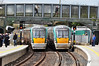 22020 and 22054 pass each other at Portarlington. 22054 was departing with the 1215 Heuston - Portarlington while 22020 arrives with the 1130 Galway - Heuston. Sat 20.04.13