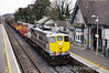 074 brought the Long Welded Rail train from North Wall to the Per Way yard in Portlaoise on Friday morning. It is pictured passing Portlaoise Station at journey's end. Fri 12.04.13