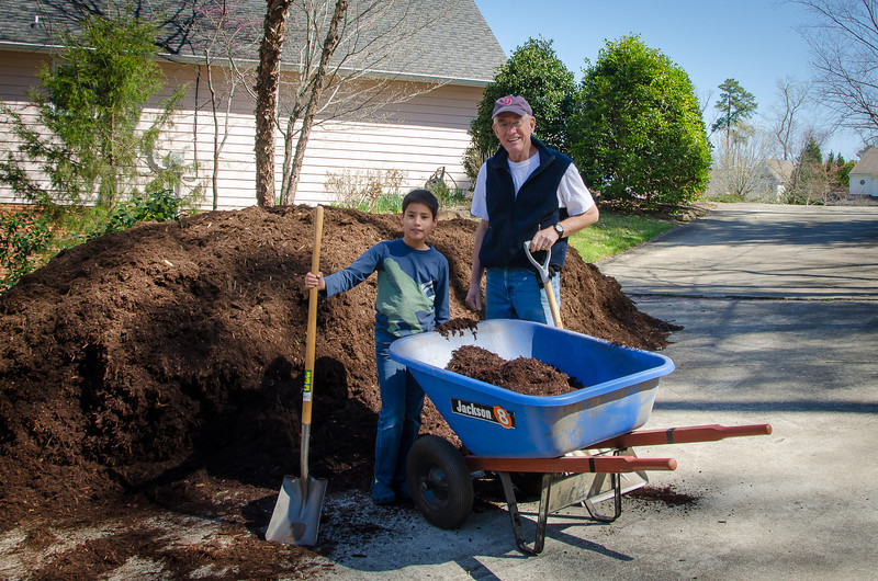Granddaddy and Parker working on the 20 cubic yards of mulch.
