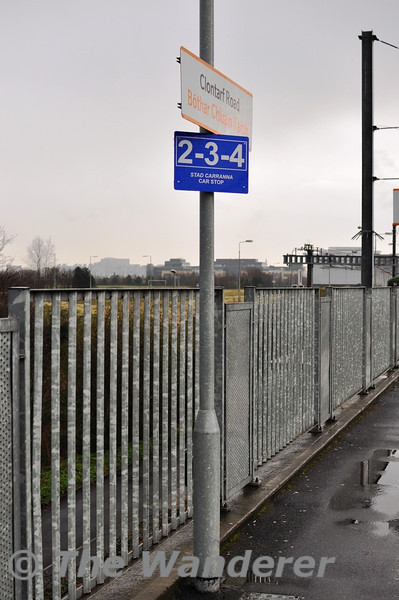 While being a feature of UK and NIR railways for many years car stop boards haven't really found favour on the IE network until now. On the DART network, car stop boards for trains of less than 8 cars have been installed half way down the platforms at certain locations. In this view of platform 1 at Clontarf Road a car stop board for 2-3-4 car trains has been installed. Thurs 11.04.13