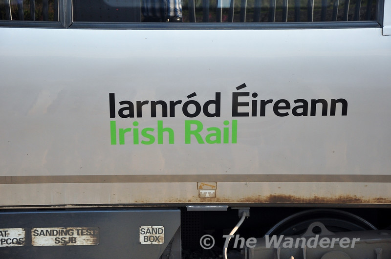 The 22000 fleet is currently having their INTERCITY logos replaced by the new Iarnord Eireann Irish Rail Logo. However, due to the colour of the new logo sets 22001 - 22006, which are fitted with NIR train safety equipment, just have the wording applied, minus logo. The logoless 22004 is pictured at Portarlington. Fri 16.08.13