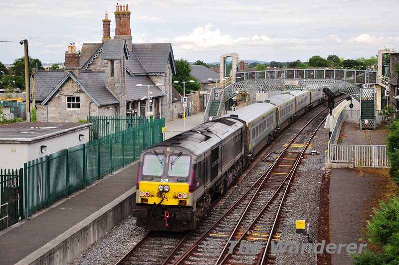 Translink NI Railways owned 209 is pictured propelling the 1620 Cork - Heuston through Portarlington. Tues 13.08.13