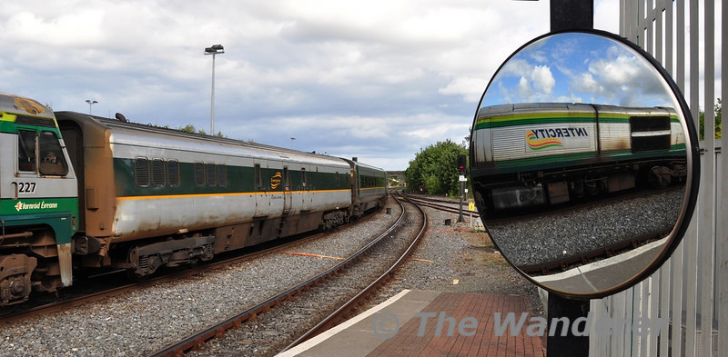 "Intercity Reflection. Its life as 7608 & running on the Cork mainline is now a distant memory, thankfully 89608 as its now identified as, earns its keep supplying electrical power to the De-Dietrich carriages on the Dublin - Belfast ""Enterprise"" service. It is pictured in the formation of the 1600 Dublin Connolly - Belfast Central at Drogheda. Sun 11.08.13"