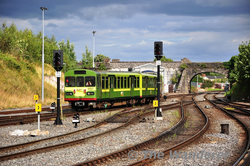 8127 is shunted in Drogheda Yard to the wheel lathe. As the EMU Depot at Fairview does not have a wheel lathe units are sent to either Drogheda or Inchicore to have their wheels reprofiled. Sun 11.08.13