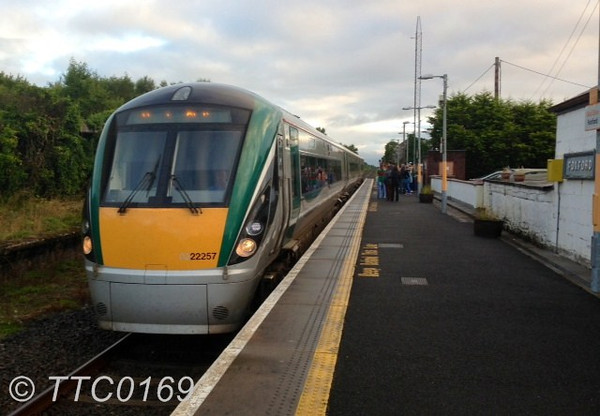 Iarnrod Eireann operated a 0705 Ballina - Heuston G.A.A. Special on Sunday 25th August 2013 for the Mayo - Tyrone Game. 22000 units are extremely rare on the Ballina Branch line with the passenger service between Ballina & Manulla Jct. being operated by 2800 Class DMU's. 22057 is pictured arriving at Foxford with the outward special. Sun 25.08.13 Photo courtesy of TTC0169