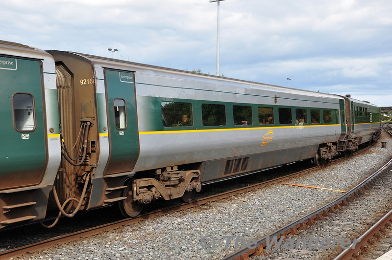 "Wheelchair Trailer Standard Open 9216 in the formation of the 1600 Dublin Connolly - Belfast Central ""Enterprise"" at Drogheda. Sun 11.08.13"