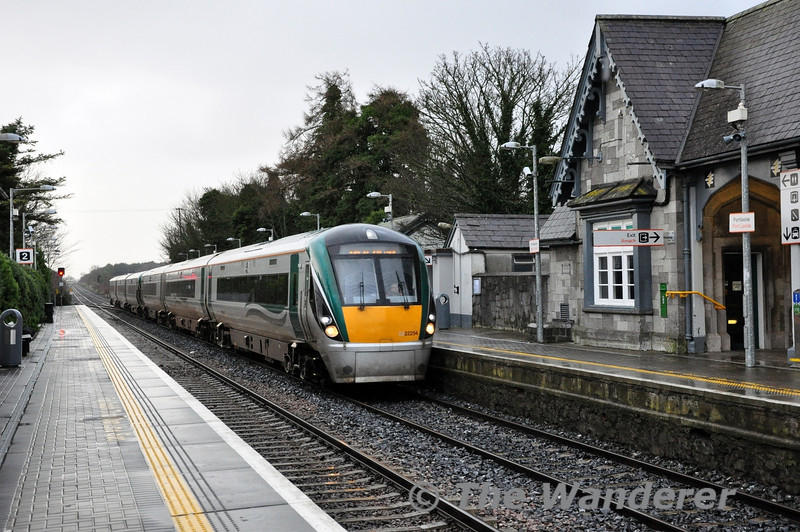 The 0605 Waterford - Heuston service on Tuesday 31st December 2013, formed of 22019 + 22054 struck a landslide between Thomastown Station & Legan Level Crossing and was disabled. The 8 passengers and Driver were uninjured. The passengers were detrained and taxis provided to their destination.   After an examination by maintenance staff the train left the incident site at 1045 hrs and went empty to Laois Train Care Depot at reduced speed. and they are pictured passing Portlaoise Station.   The line was reopened to traffice at 1245 and the 1305 Waterford - Heuston was the first service to operate over the affected section. Two empty services also operated ex Waterford (the sets for the 0710 & 0750 departures ex Waterford), one to Laois Depot and the 2nd to Heuston to get stock back in the right location for the end of service today.