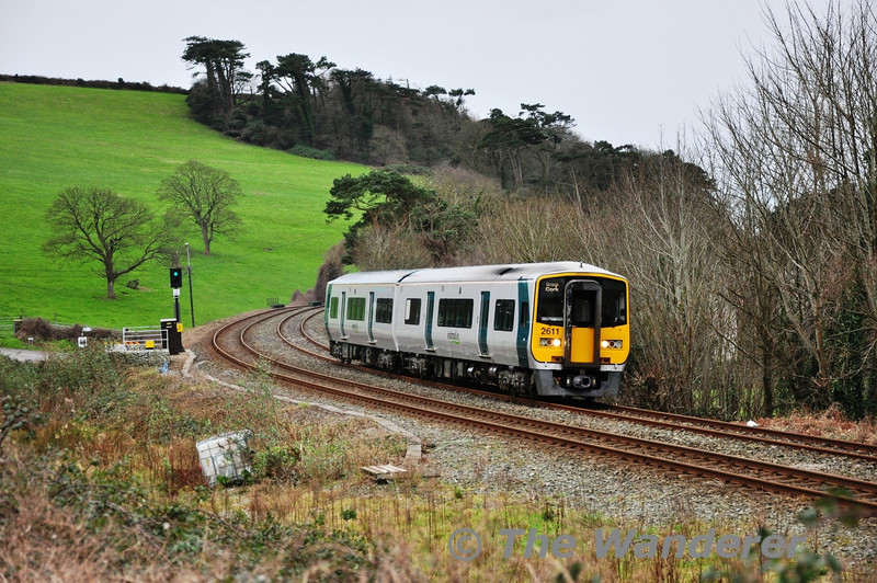 """2611 + 2612 have just departed Carrigaloe Station with the 1430 Cobh - Cork. Tues 12.02.13<br /> <br /> Finnyus also took a photograph of this location and it may be viewed at <a href=""""http://www.flickr.com/photos/finnyus/8473428897/in/photostream"""">http://www.flickr.com/photos/finnyus/8473428897/in/photostream</a>"""