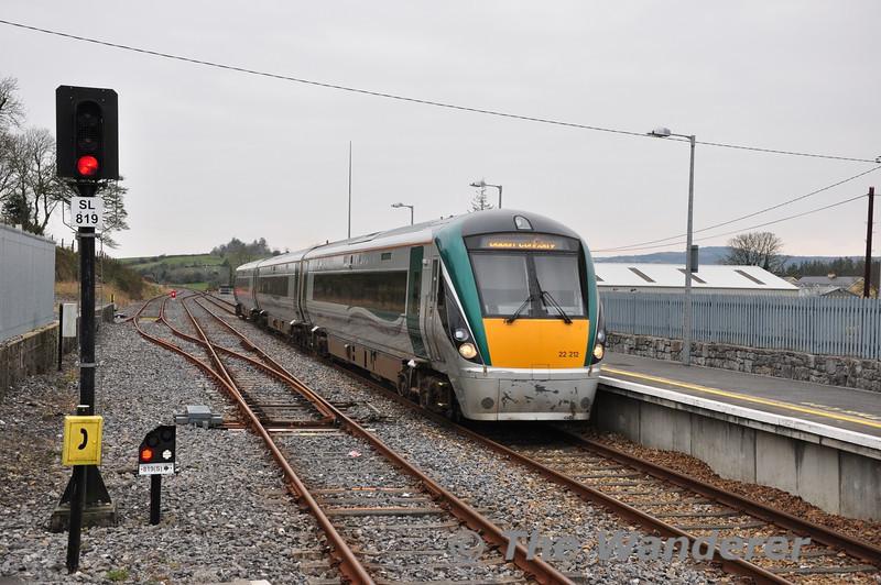 22012 arrives at Boyle with the 1300 Sligo - Connolly. Sat 23.02.13