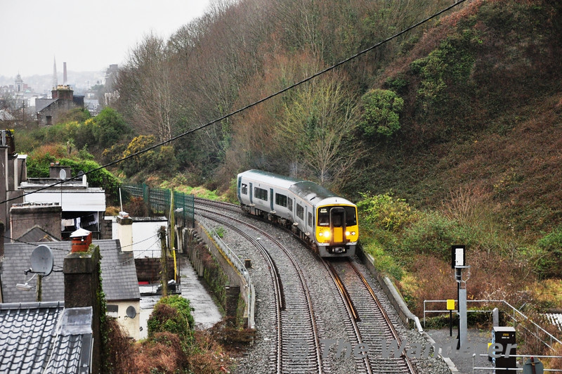 2612 + 2611 pass the site of Water Street Junction with the 1600 Cork - Cobh. Tues 12.02.13