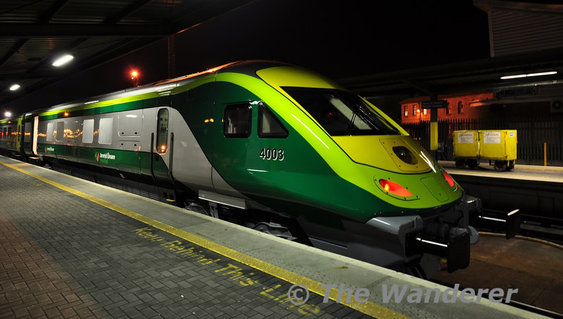 4003 at Heuston prior to departure for Cork at 1900. Wed 14.02.13