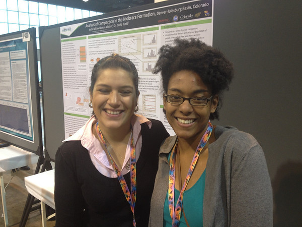 2012 and 2013 RESESS interns Isabel Villaneda-van Vloten and Kayla Christian at the 2013 annual meeting of the Geological Society of America in Denver, Colo. (Photo/Aisha Morris)