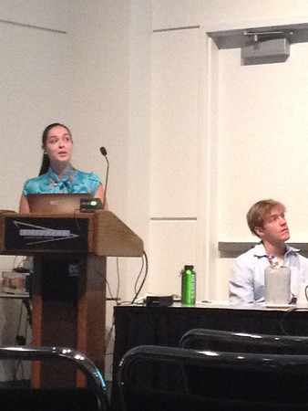 "2013 RESESS intern Gina Oliver presents her talk entitled ""ANISOTROPY FROM JOINT ANALYSIS OF SPLIT DIRECT-S AND SKS IMAGES LITHOSPHERIC FOUNDERING UNDER THE SIERRA NEVADA, CA."""