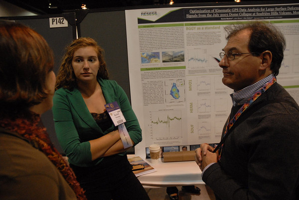 Former RESESS director Valerie Sloan, research mentor Glen Mattioli, and 2013 RESESS intern Rachel Medina at Rachel's (and Glen's) poster at the 2013 annual GSA meeting in Denver.
