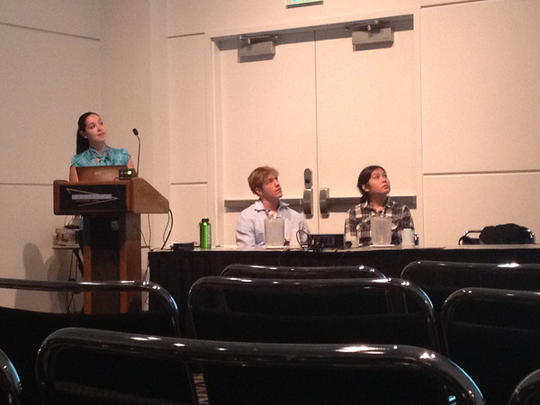 """2013 RESESS intern Gina Oliver presents her talk entitled """"ANISOTROPY FROM JOINT ANALYSIS OF SPLIT DIRECT-S AND SKS IMAGES LITHOSPHERIC FOUNDERING UNDER THE SIERRA NEVADA, CA."""""""